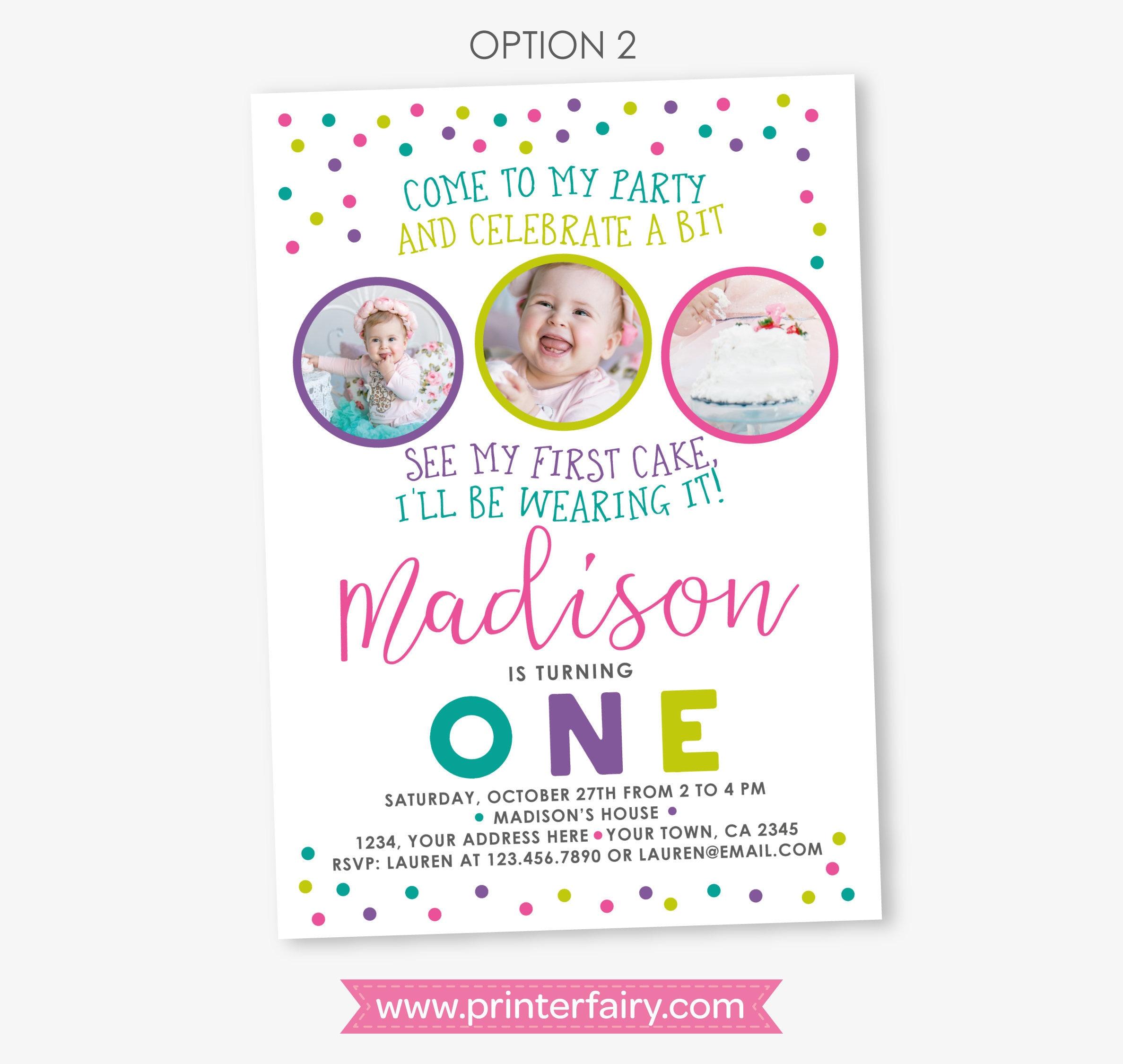 Cake Smash Birthday Invitation, Sprinkles Girl first birthday party ...