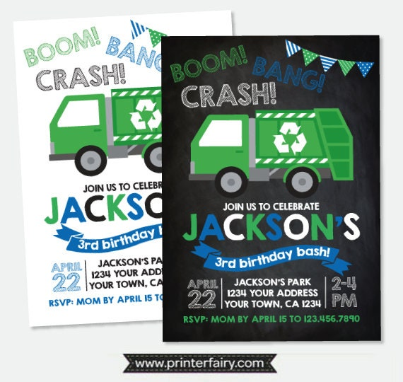 Garbage Truck Invitation Trash Truck Birthday Party Recycle