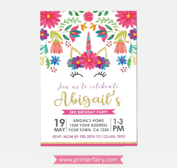 Unicorn Birthday Invitation Fiesta Party Invitation Floral