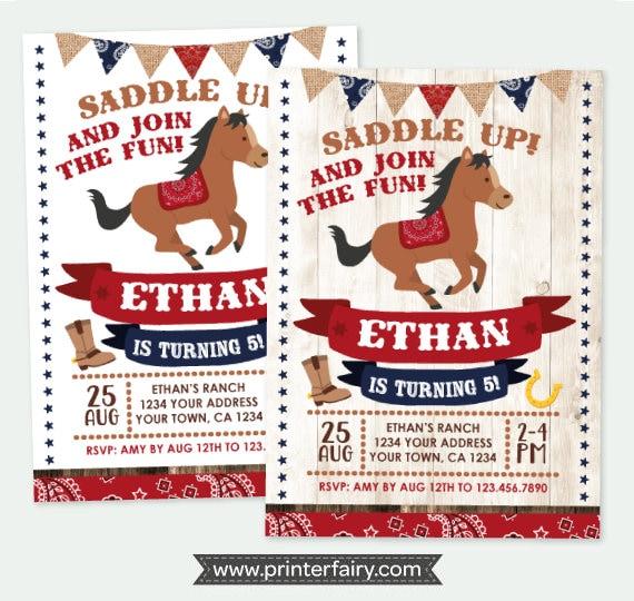 Horse birthday invitation pony birthday invitation buckaroo horse birthday invitation pony birthday invitation buckaroo birthday invitation cowboy party personalized digital invite 2 options filmwisefo
