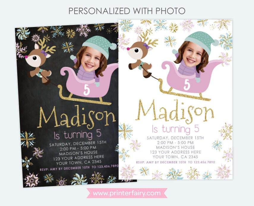 Winter Wonderland Birthday Invitation With Photo Snowflake