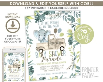 Elephant Baby Shower, Drive By Baby Shower, EDITABLE, Quarantine Shower, Baby Shower Parade, Drive by Jungle Invitation, INSTANT DOWNLOAD