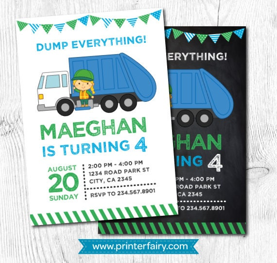 Trash Truck Invitation Garbage Recycling Birthday Party