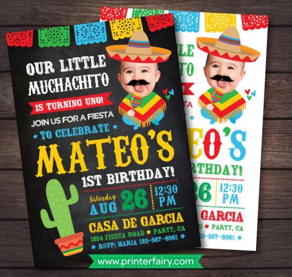 Fiesta First Birthday Invitation 1st Baby Muchacho