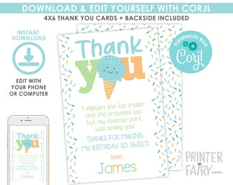 Ice Cream Thank You Cards, EDITABLE, Ice Cream Thank You Notes, EDIT YOURSELF, Ice Cream Birthday, Ice Cream Party, Instant Download