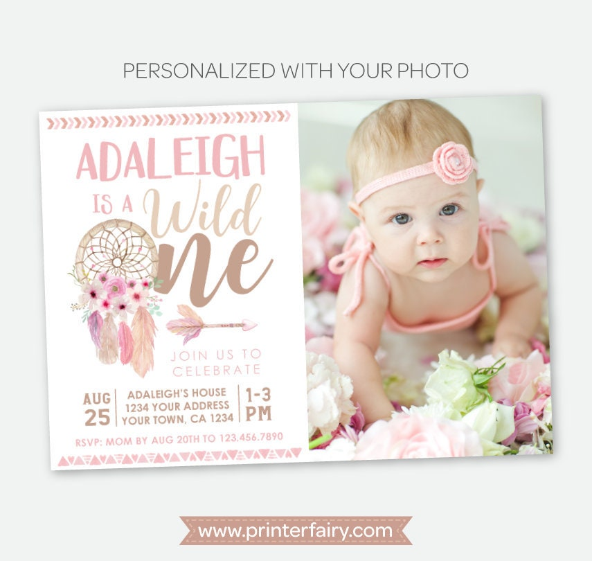 wild one birthday girl invitation with photo dream catcher first