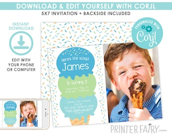 Ice Cream Invitation with photo, Boy Birthday Invitation, Sprinkles Invitation, Ice Cream Birthday Party, EDITABLE, Instant Download
