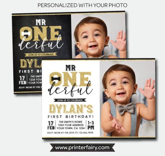 mr onederful first birthday invitation with photo boys 1st birthday