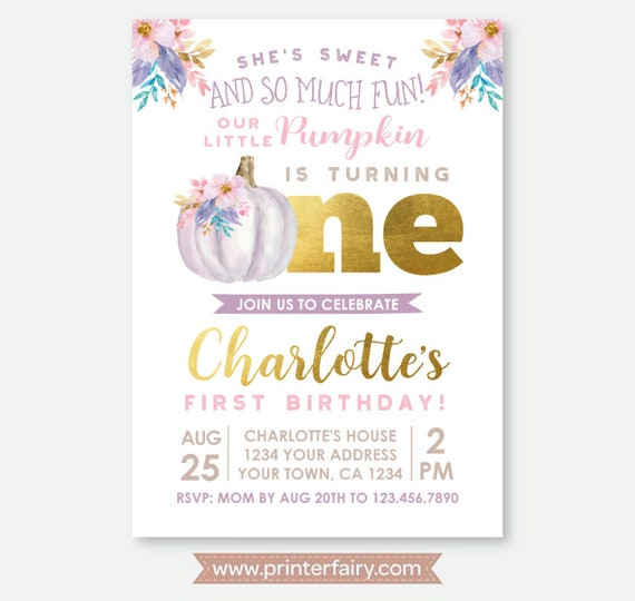 little pumpkin first birthday invitation fall first birthday girl