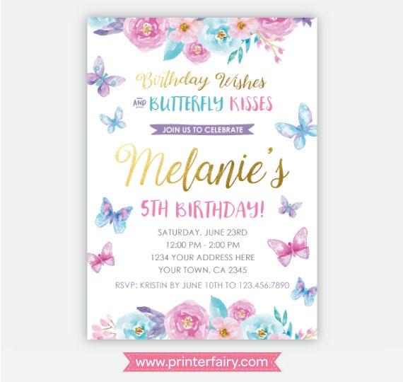 Butterfly Birthday Invitation Spring Party Invites Garden