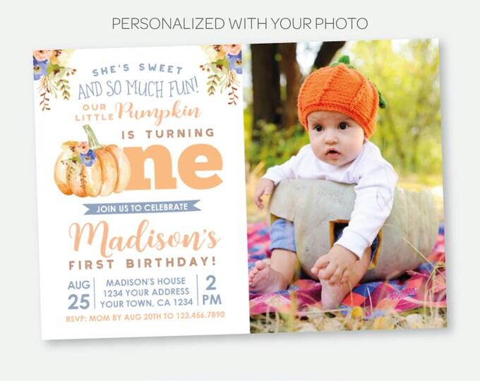 Little Pumpkin First Birthday Invitation with Photo, Fall Birthday Invitation, Floral Birthday Party, Personalized Digital Invite