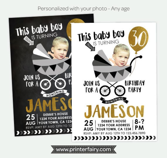 Funny Adult Birthday Invitation With Photo 30 40 50 Any Age Personalized DIGITAL Invite