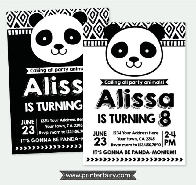 Panda Birthday Invitation, Panda Invitation, Black and white birthday Invitations, Personalized Printable Invitation