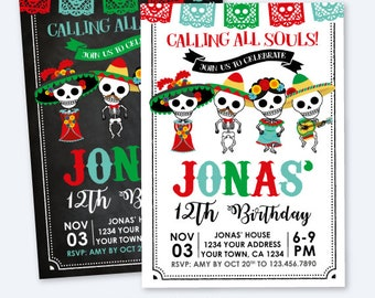 Day of the Dead Birthday Invitation, Dia de los Muertos Party, Calling all Souls, Personalized Printable DIGITAL Invite, 2 options