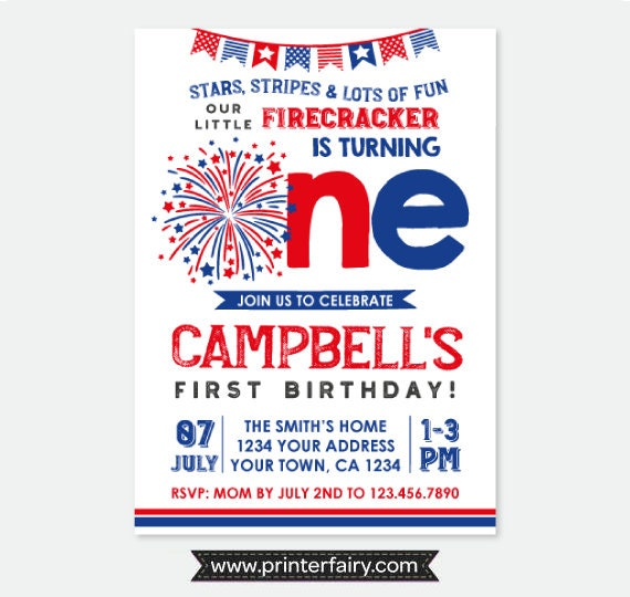 little firecracker invitation first birthday party 4th of july