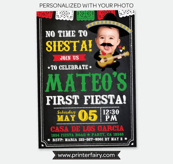 Cinco De Mayo First Birthday Invitation With Photo Fiesta 1st