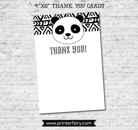photo about Printable Thank You Cards Black and White called Panda Blank Thank Yourself Playing cards, Black and white occasion, Panda Birthday Bash, Panda Little one Shower, Blank, Electronic, Prompt Obtain