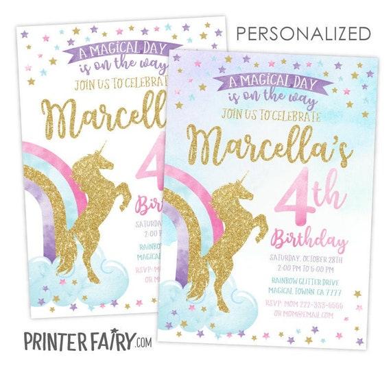 Unicorn Birthday Invitation, Magical birthday Invitation, Unicorn