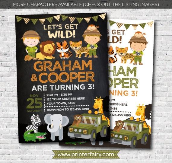 safari siblings birthday invitation jungle invitation zoo birthday