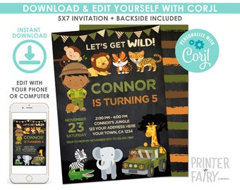 Safari Invitation, Jungle Birthday Invitation, EDITABLE, Safari Party, Outdoor Birthday, Digital Printable Invitation, Instant Download