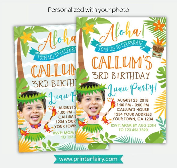 Luau Boy Birthday Invitation With Photo Hawaiian