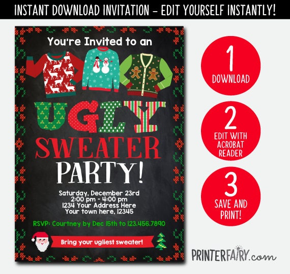 Instant Download Ugly Sweater Party Invitation Holiday Party Etsy