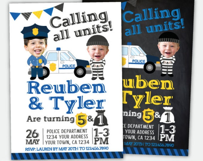 Cops & Robbers Siblings Birthday Invitation with photo, Police Officer Invitation, Personalized DIGITAL Invitation, 2 Options