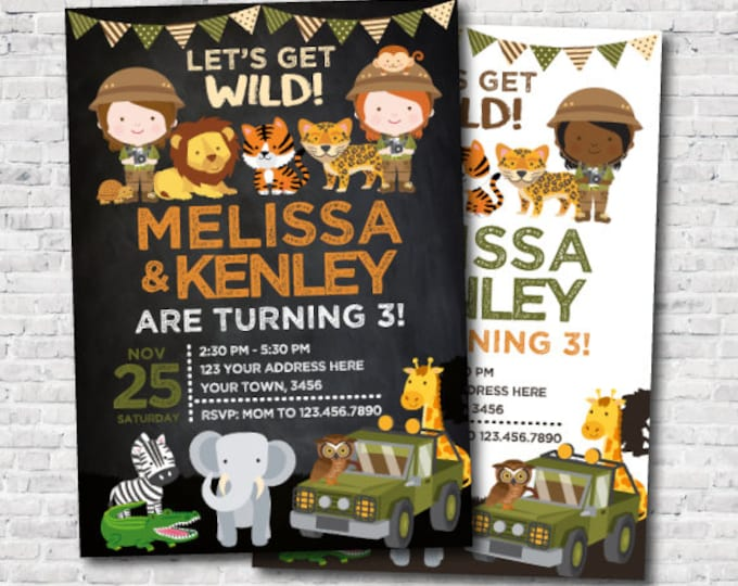 Safari Siblings Birthday Invitation, Joint Party, Jungle Invitation, Zoo Birthday Invitation, Girl Birthday, Personalized DIGITAL, 2 Options