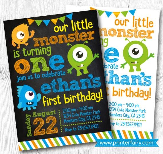 Little Monster Birthday Invitations Monster Invitations Etsy