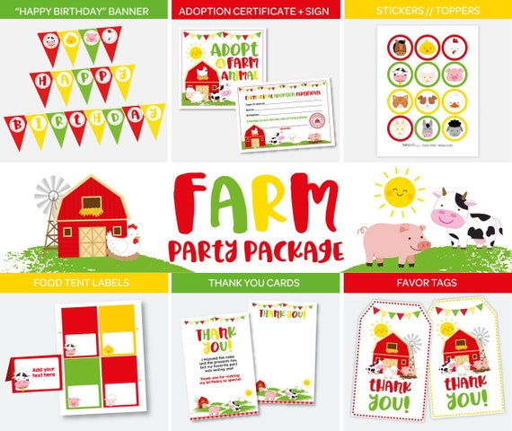 Farm Birthday Decorations Party Barnyard Banner Thank You Cards Tags DIGITAL Instant Download