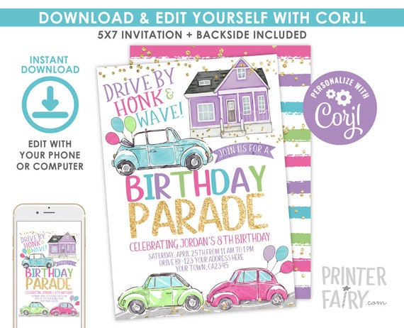 Birthday Parade Invitation Drive By Birthday Party Quarantine Birthday Virtual Birthday Invitation Stay At Home Party Instant Download By Printer Fairy Catch My Party