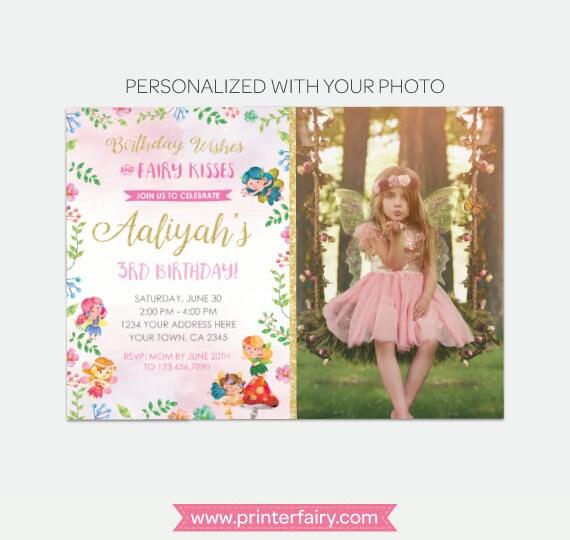Fairy Birthday Invitation With Photo Magical