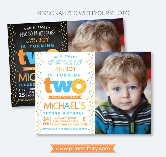 Donut 2nd Birthday Invitation With Photo Sprinkle Boy Second Invite Personalized 2 Options