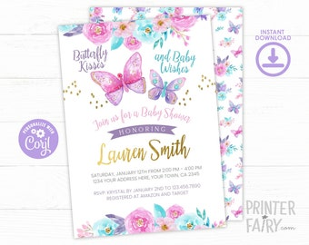 EDITABLE, Butterfly Baby Shower Invitation, Butterflies Baby Shower, Girl Baby Shower, Spring Baby Shower, INSTANT DOWNLOAD