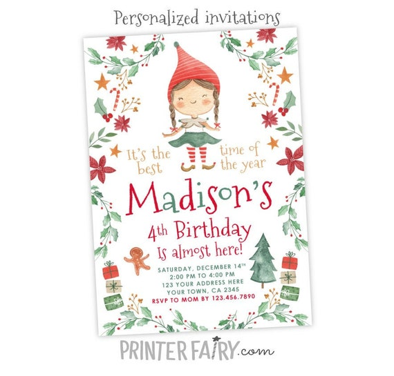 Christmas Birthday Party Invitations.Christmas Birthday Party Invitation Elf Birthday Invitation