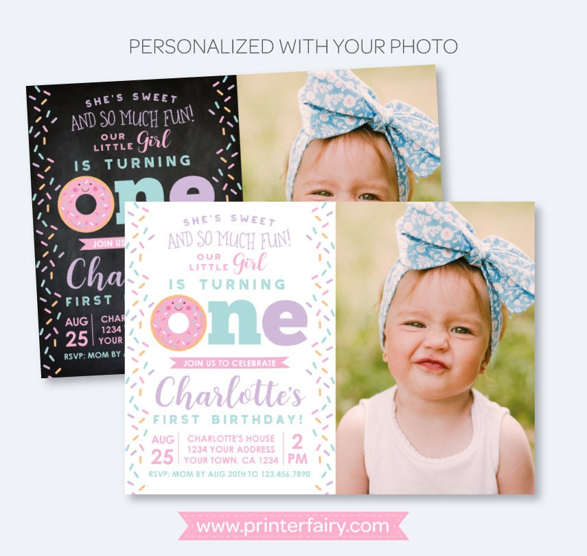 Donut first birthday invitation with photo sprinkles birthday party donut first birthday invitation with photo sprinkles birthday party 1st birthday girl invite personalized invitation 2 options filmwisefo