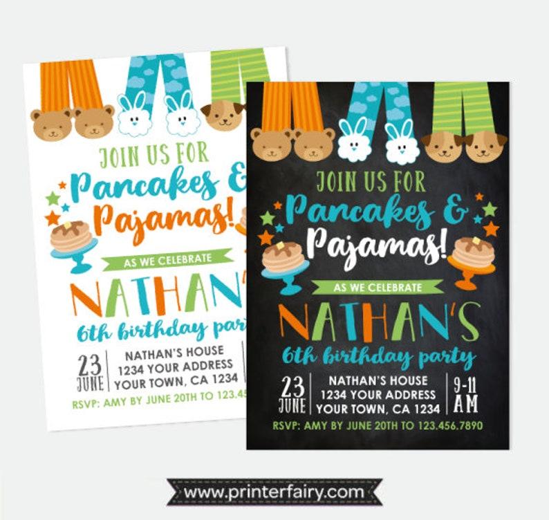 882e644d11f0 Pancakes and Pajamas Boy Birthday Invitation Pajama Party