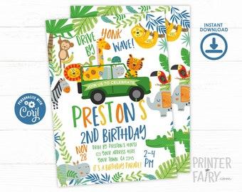 Jungle Drive By Birthday Invitation, EDITABLE, Safari Invitation, Sloth Invite, Safari Birthday Parade Invitation, INSTANT DOWNLOAD