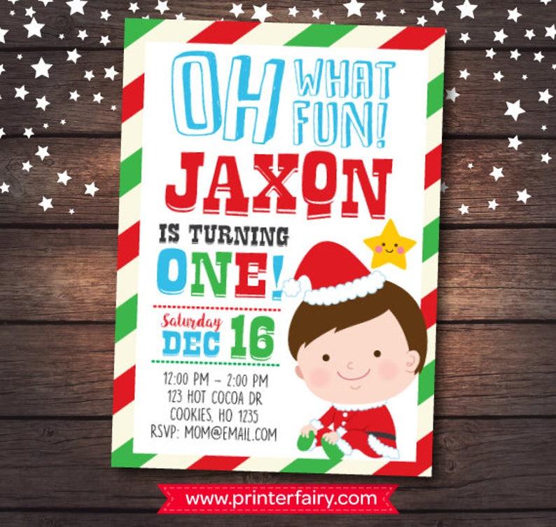 Christmas First Birthday Invitation Little Santa DIGITAL