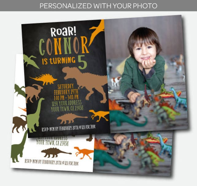Dinosaur Invitation With Photo Birthday Party T Rex Prehistoric Personalized Digital Invite
