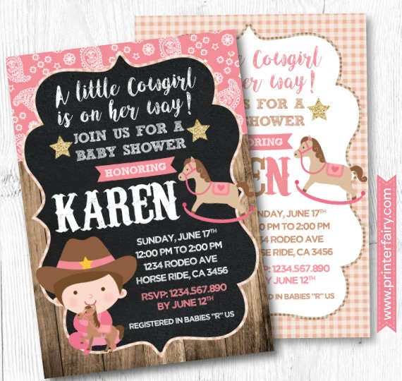 Horse Baby Shower Invitation Cowgirl Baby Shower Pony Baby Shower