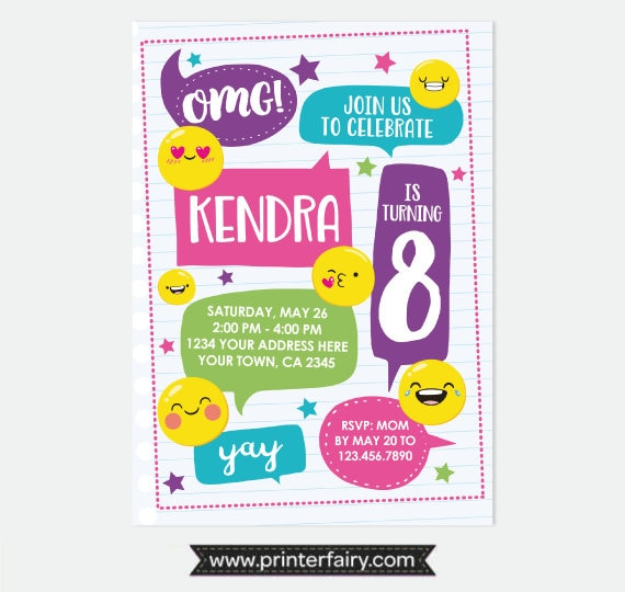 Emoji Birthday Invitation Party Emoticon Personalized Digital