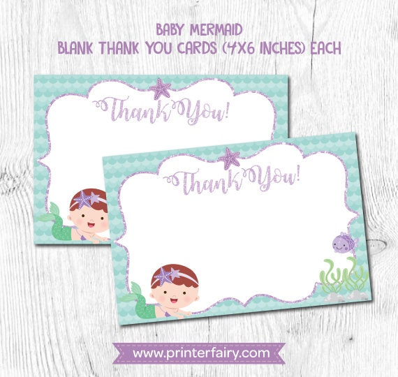 Mermaid Thank You Cards Mermaid First Birthday Under The Sea