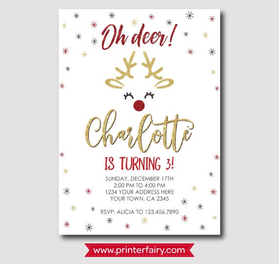 Christmas Reindeer Birthday Invitation Holiday Party Invitation