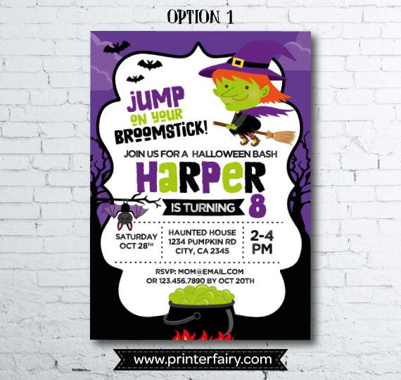 Witch invitation halloween birthday invitation costume party gallery photo gallery photo stopboris Choice Image