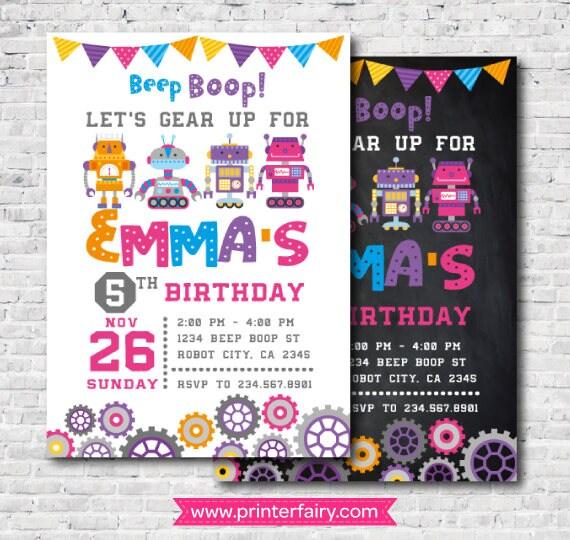 robot girl birthday party invitation digital printable invitation