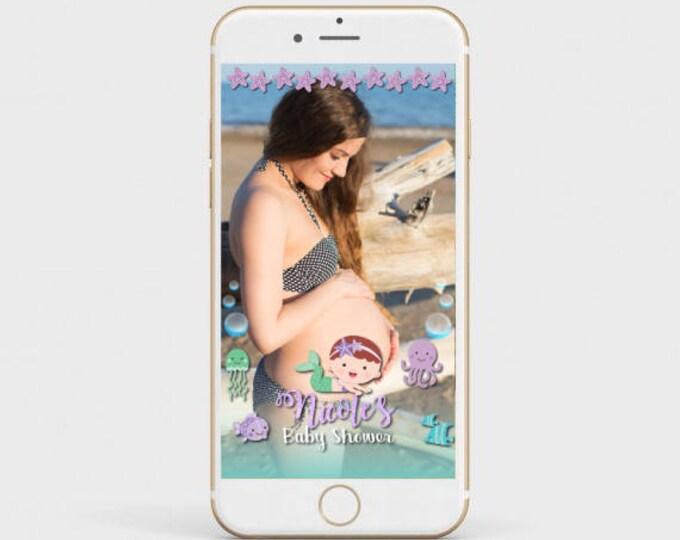 Mermaid Snapchat Filter, Baby Shower Snapchat Filter, Mermaid Baby Shower, Beach party filter, Customized Filter