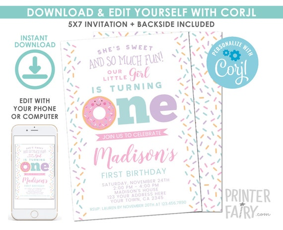 EDITABLE Donut First Birthday Invitation Sprinkles 1st Party EDIT YOURSELF Digital Invite
