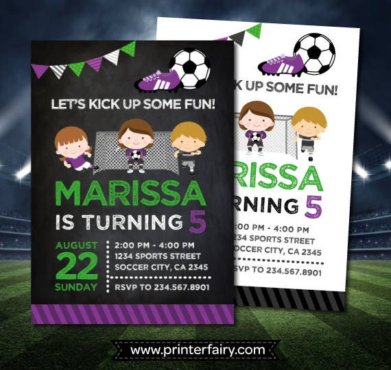 Soccer Birthday Invitation Sports Birthday Party Soccer Girl