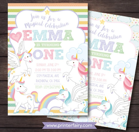 Unicorn Birthday Invitation 1st First Rainbow 4 Options DIGITAL
